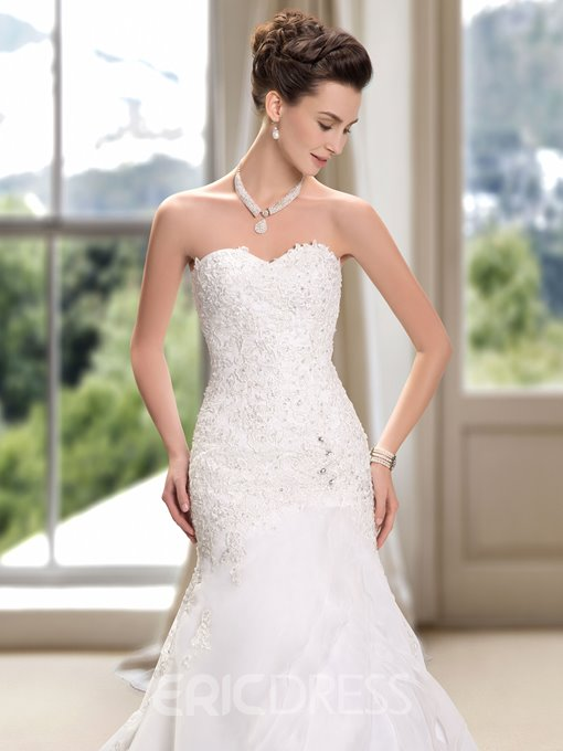 Ericdress Sweetheart Beading Appliques Mermaid Wedding Dress