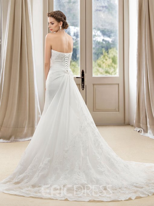 Delicate Sweetheart Mermaid Appliques Court Train Wedding Dress
