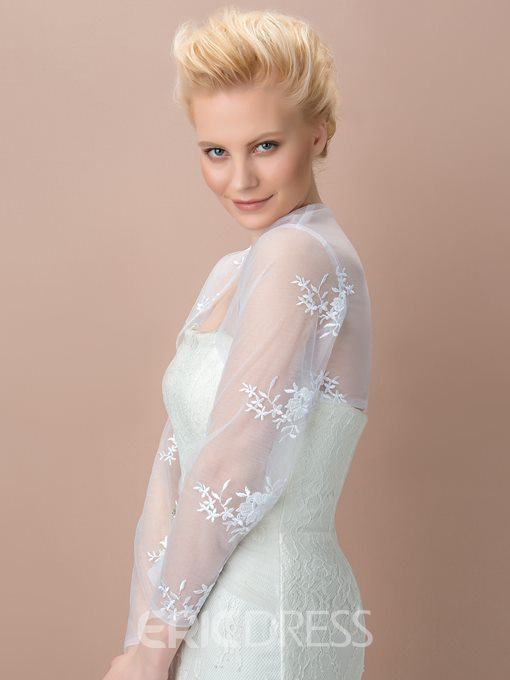 Admirable Long Sleeves Appliques Wedding Jacket