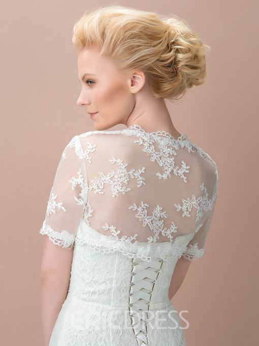 Pretty Short Sleeves White Wedding Jacket