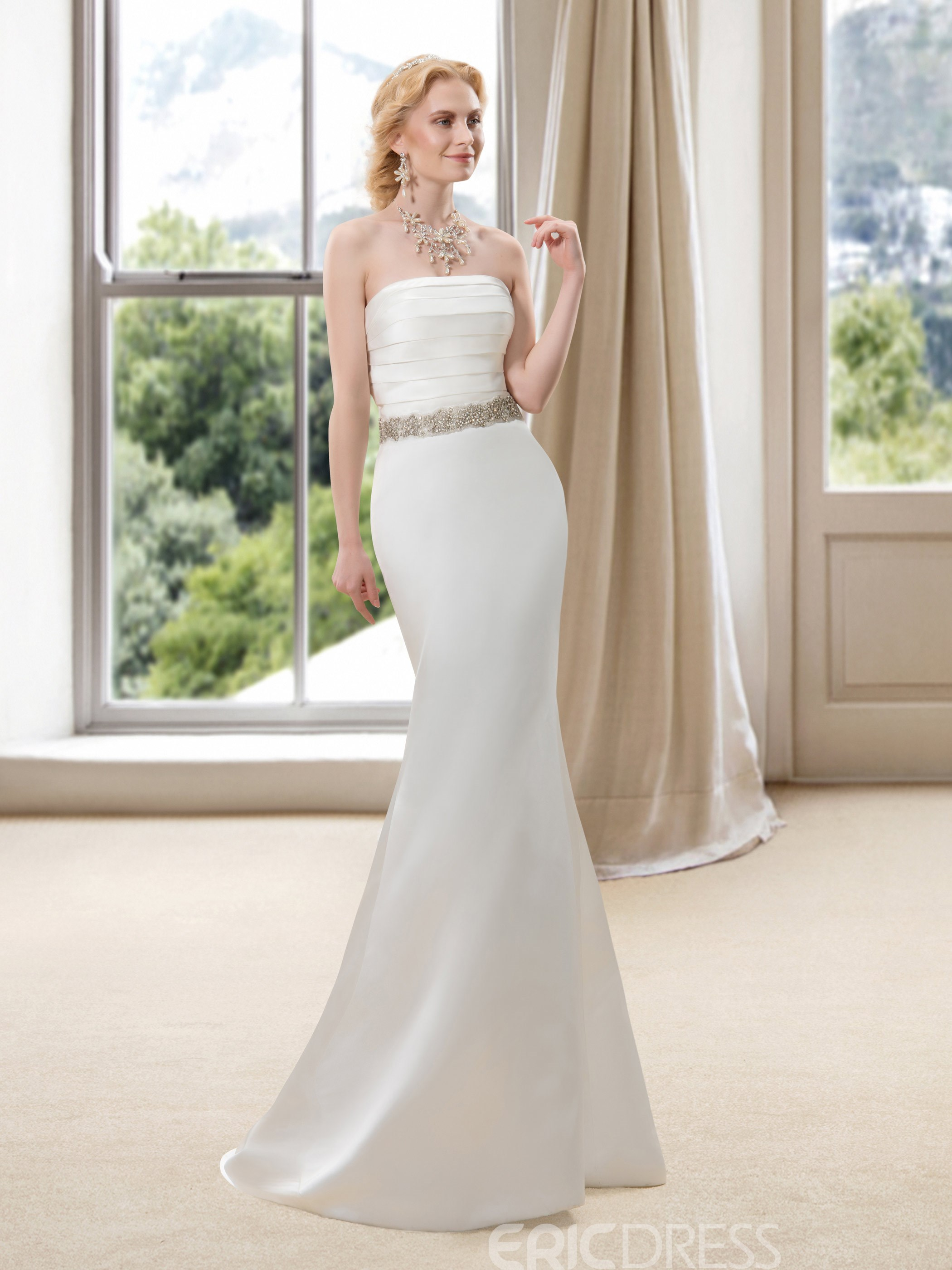 Strapless Sweetheart Floor Length A-Line Wedding Dress
