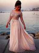 Ericdress A Line Sequins BeadedcEvening Dress With Long Sleeves