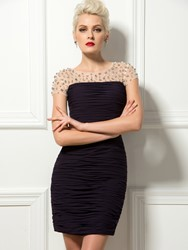 Image of Sexy Scoop Neck Short Sleeves Ruched Sheath/Column Short Cocktail Dress
