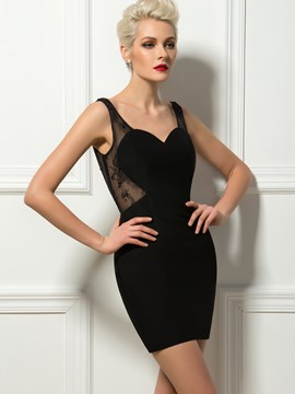 Sexy Sheath Straps Lace Mini Cocktail Dress