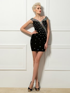 Sexy Sheath V-Neck Crystal Mini Cap Sleees Cocktail Dress