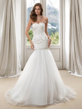 Gorgerous Mermaid Sweetheart Embroidery Beading Lace-up Long Wedding Dress