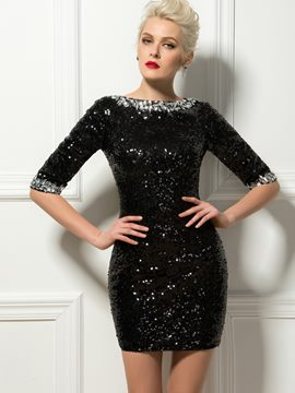 Robe de Cocktail Mini gaine sexy Bateau cristal paillettes