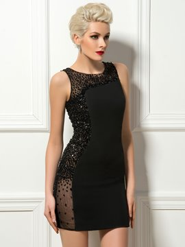 Robe de Cocktail courte sexy gaine bijou perles