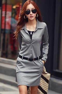 Solid Color Long Sleeve Bodycon Dress