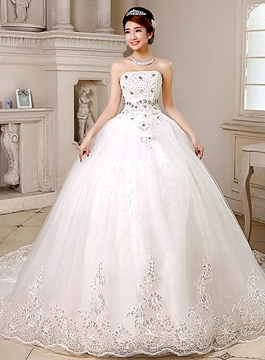 Glamorous Strapless Appliques Chapel Train Wedding Dress