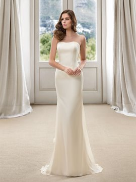 Concise Strapless Floor Length Sheath Plus Size Color Wedding Dress