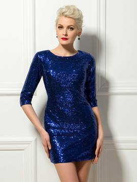 Glorious 3/4 Long Sleeves Sequins Short Length Sheath Cocktail Dress