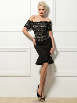 Sexy Off-The-Shoulder Short Sleeves Mermaid Cocktail Dress