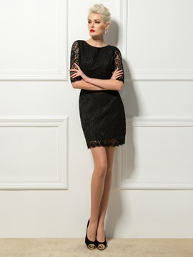 Cool Sheath Scoop Half Sleeves Lace Cocktail Dress