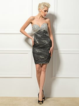 Sexy Sweetheart Crystal Sheath/Column Short Cocktail Dress