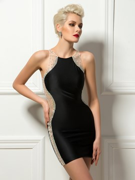 Sexy Mantel Jewel Hals Sicke Mini Schwarzes Cocktailkleid