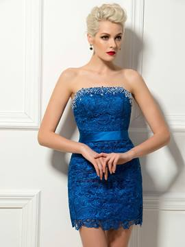 Modern Column Strapless Lace Beading Mini Cocktail Dress