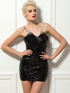 Charmante robe de Cocktail Sweetheart Tulle perlée bretelles Sequin noir