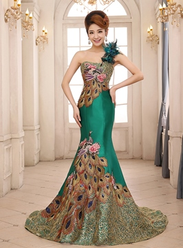 Ericdress Embroidery Mermaid One Shoulder Evening Dress