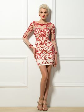 Y Beading Embroidery Column Short Tail Dress