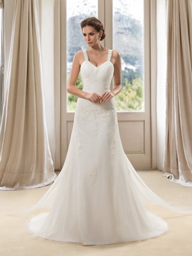 Graceful Straps Applqiues Pearls Lace-up Long Wedding Dress