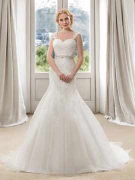 Stunning Straps Appliques Beaded Mermaid Court Train Wedding Dress