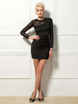 Cool Jewel Neck Sheath Lace Long Sleeves Mini Cocktail Dress