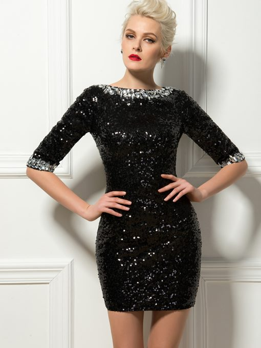 Sexy Sheath Bateau Crystal Sequins Mini Cocktail Dress