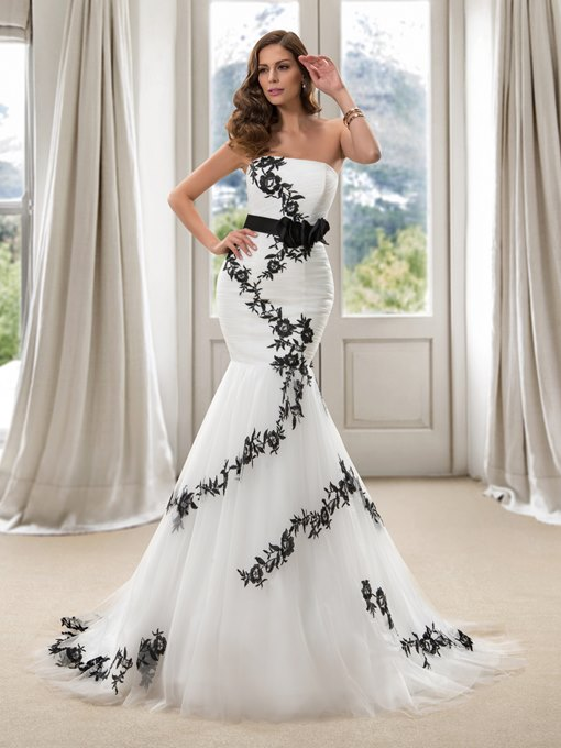 Ericdress Strapless Embroidery Flowers Mermaid Wedding Dress