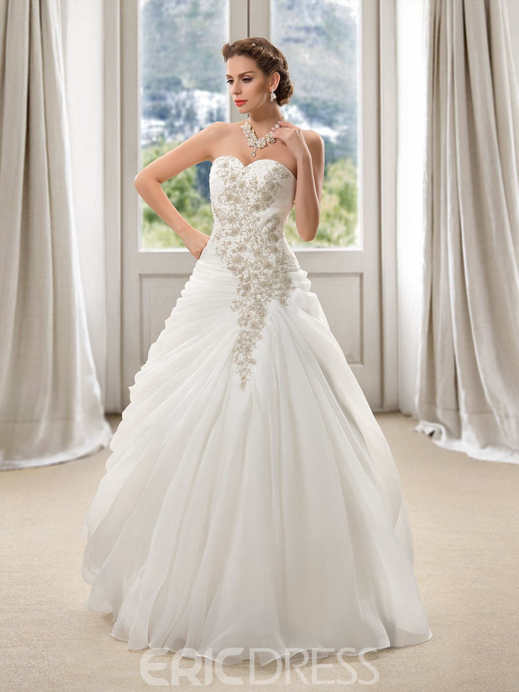 Charming Beading Draped Ball Gown Wedding Dress