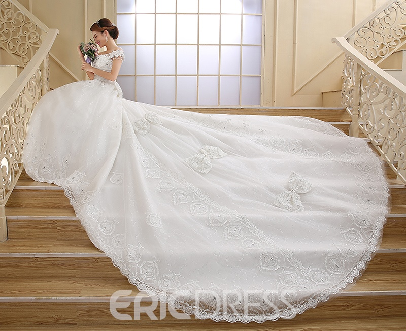 Ericdress Off the Shoulder Appliques Cathedral Train Wedding Dress