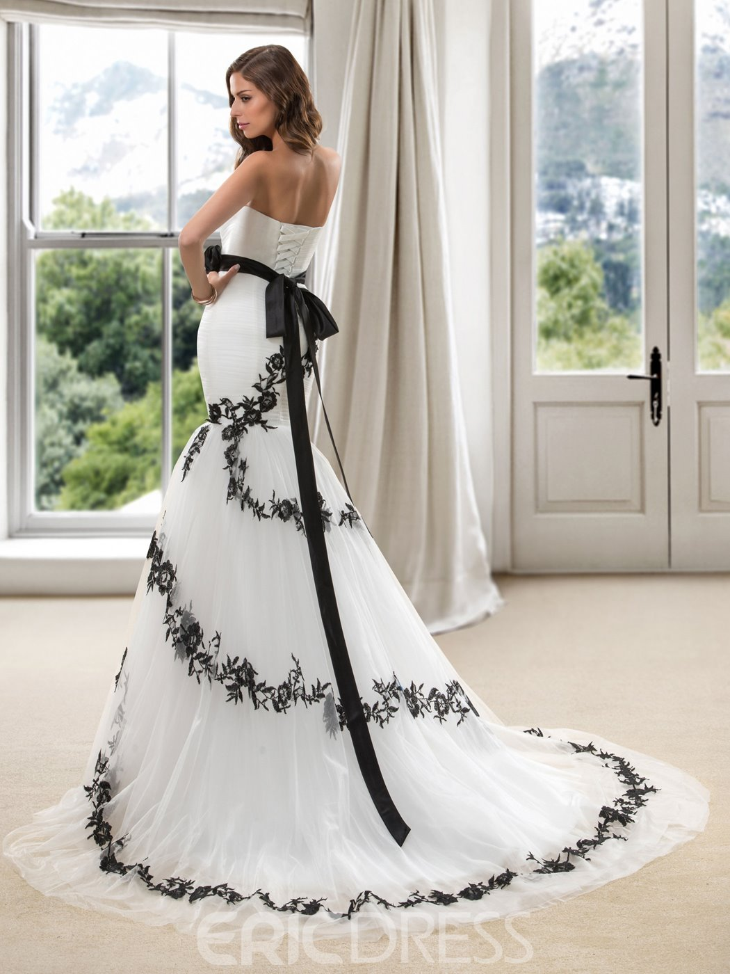 eeadf01a8745 ... Modern Strapless Embroidery Flowers Mermaid Court Train Wedding Dress  ...
