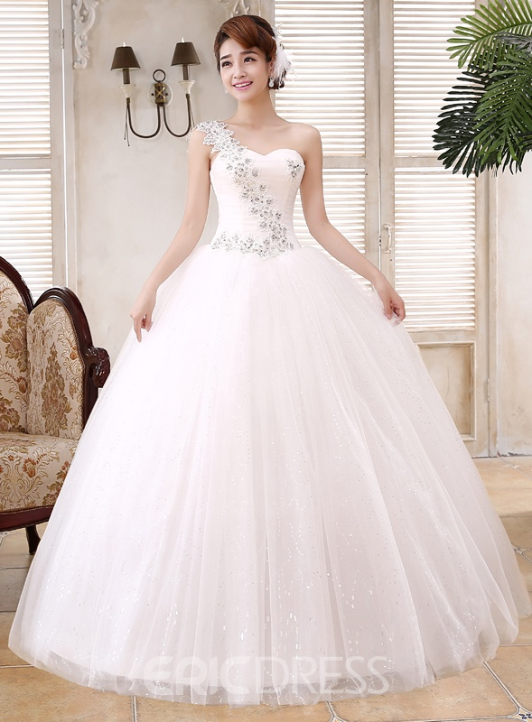 Ericdress Charming Sweetheart Appliques One Shoulder Wedding Dress