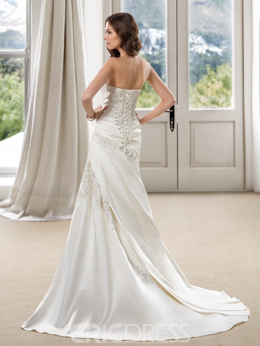 Ericdress Trumpet Beaded Pleats Appliques Wedding Dress
