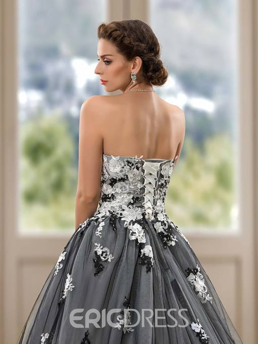 Sweetheart Appliques Ball Gown Color Wedding Dress