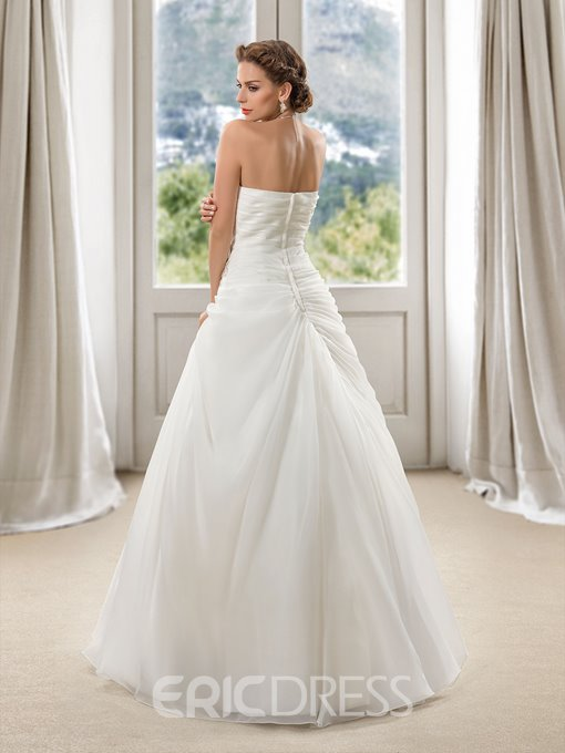 Charming Sweetheart Floral Beaded Ruffles A-Line Wedding Dress