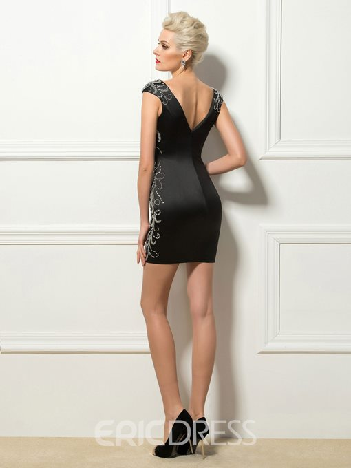 Sexy Deep V-Neck Sheath Short Cocktail Dress