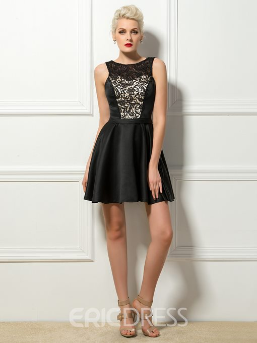 Bateau Neck Lace A-Line Short Cocktail Dress