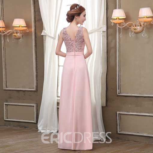 Ericdress Romantic V-Neck A-Line Floor-Length Lace Prom Dress
