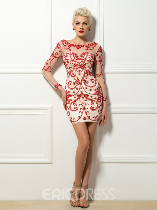 Sexy Beading Embroidery Column Short Cocktail Dress