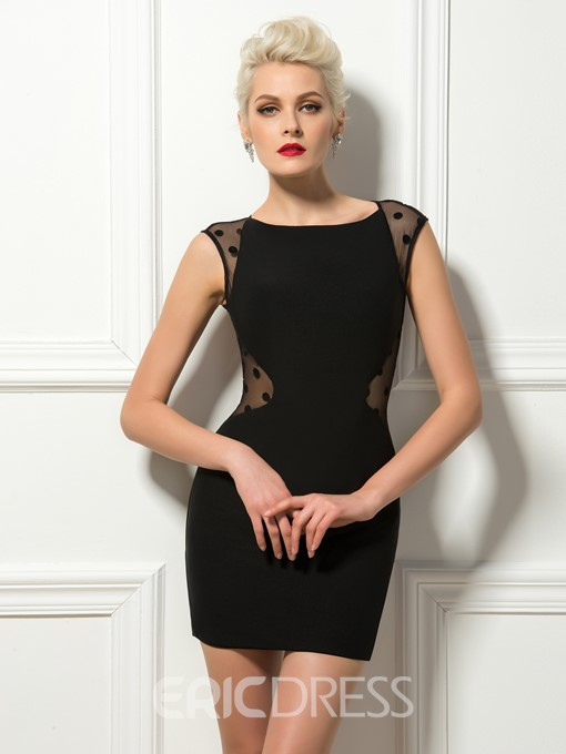 Mysterious Cap Sleeves Dotted Back Sheath Cocktail Dress