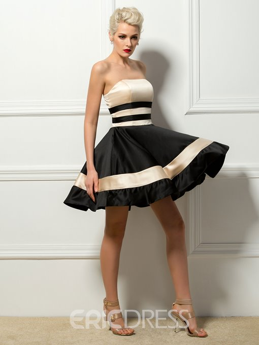 Contrast Color Strapless A-Line Short Cocktail Dress