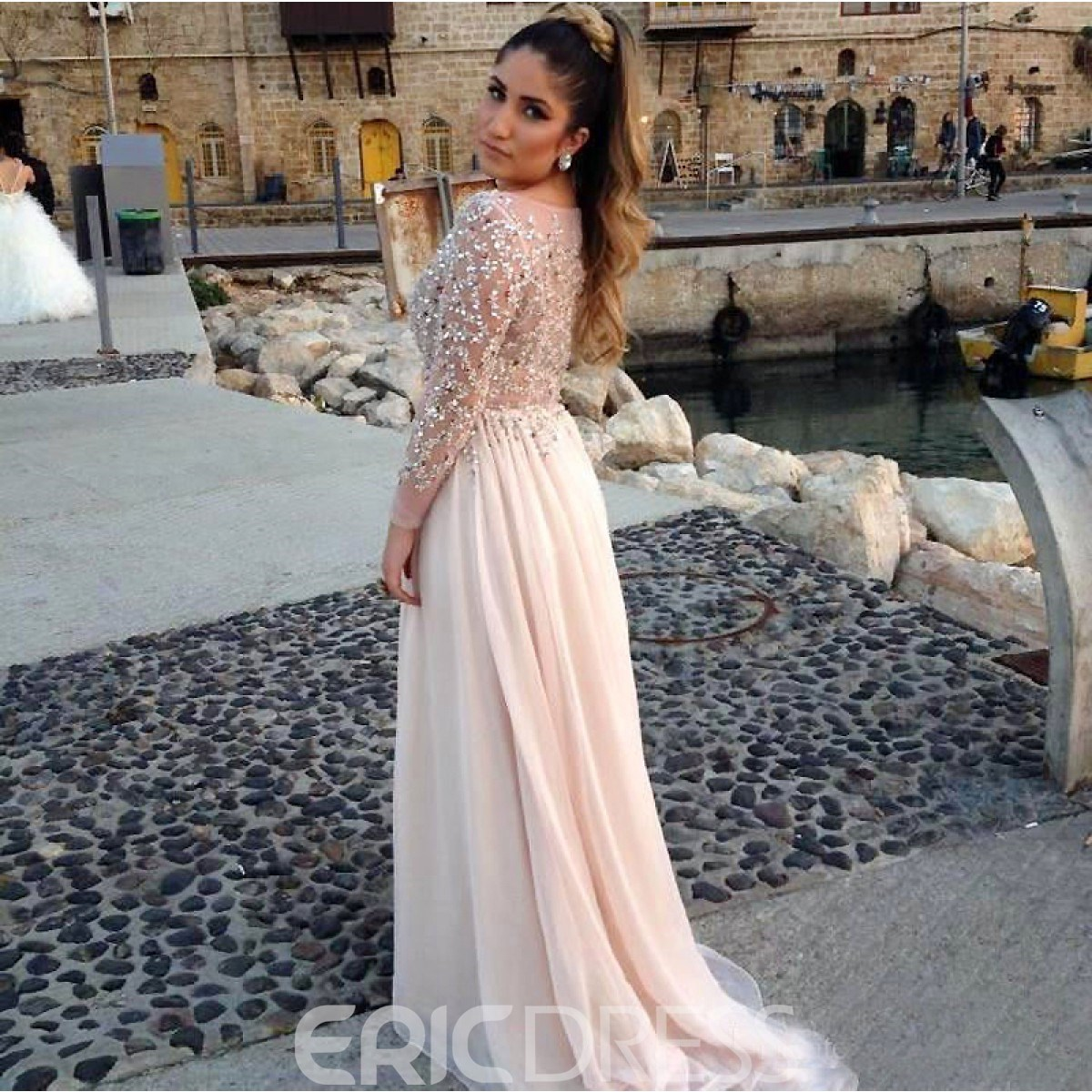 Ericdress Scoop Neckline Sequins Beading Long Sleeves Evening Dress