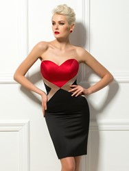 Image of Contrast Color Sheath Sweetheart Short Cocktail Dress