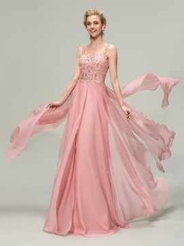 Straps Sweetheart Beading A-Line Bridesmaid Dress