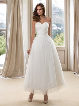 A-Line Sweetheart Ankle-Length Wedding Dress