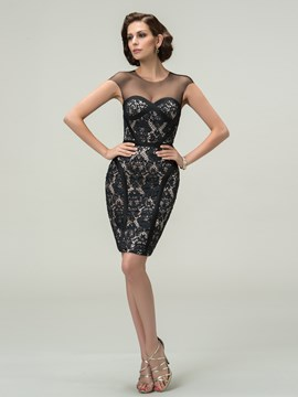 Sexy Mantel Scoop Kappe Ärmeln Tüll Short-Length Cocktailkleid