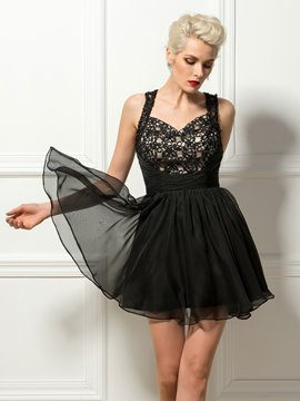 Cute Straps Lace Sweetheart Black Mini A-Line Cocktail Dress