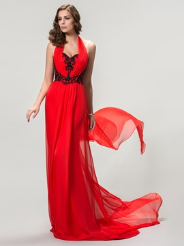 Glamorous Halter A-Line Sweep Train Evening Dress