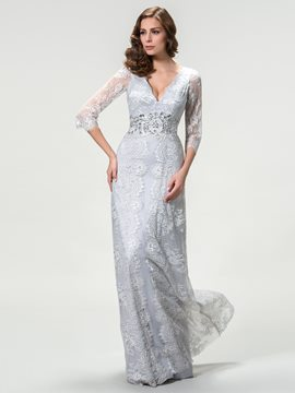V-Neck Lace Beading Mother of the Bride Dress
